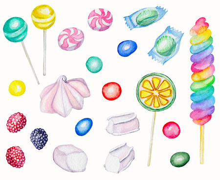 Watercolor Set of candies. Watercolor hand painted illustration