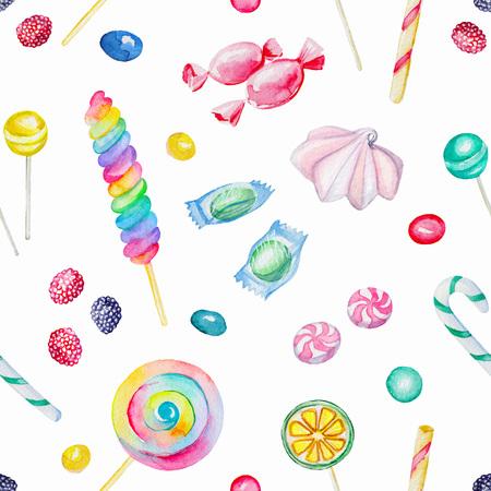 キャンディーとロリポップ水彩のシームレスな背景パターン