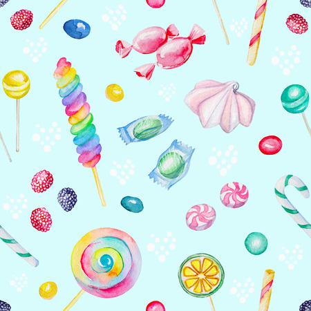 Watercolor seamless background pattern with candies and  lollipop