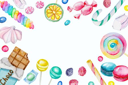 キャンディーの水彩の長方形フレーム。水彩の手描きのイラスト