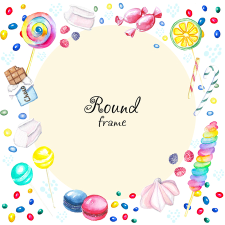 Watercolor round frame of candies. Watercolor hand painted illustration Stock Photo
