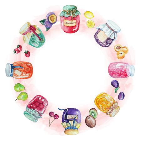 Aquarelle ronde cadre de confitures et de fruits. Illustration aquarelle peinte à la main Banque d'images - 92273811