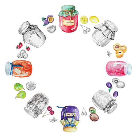 Watercolor round frame of jams and fruits. Watercolor hand painted illustration