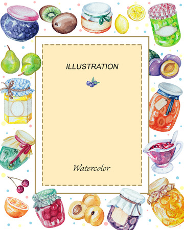 Watercolor rectangular frame of jams and fruits. Watercolor hand painted illustration Banque d'images - 92273815