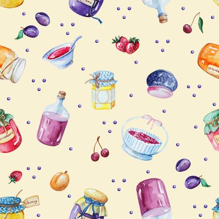 Waterverf naadloos patroon als achtergrond met jam en fruit Stockfoto