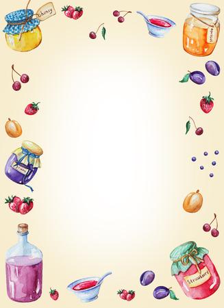 Cadre rectangulaire aquarelle de confitures et de fruits. Illustration aquarelle peinte à la main Banque d'images - 92234451