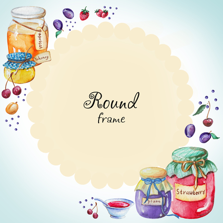 Watercolor round frame of jams and fruit. Watercolor hand painted illustration