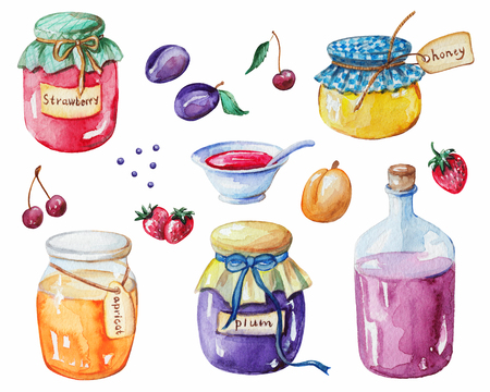 Set potten jam, bessen en fruit. Aquarel handgeschilderde illustratie