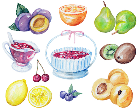 Set of jam, berries and fruits. Watercolor hand painted illustration