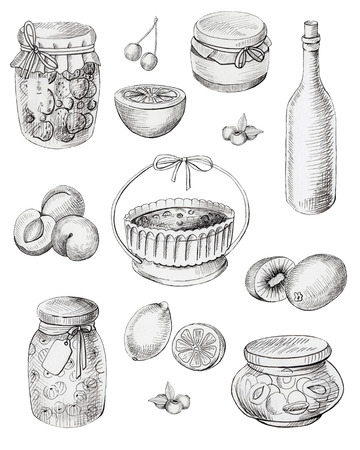 Set jars of jam, berries and fruits. Graphic hand painted illustration