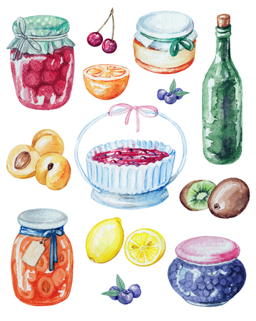 Set jars of jam, berries and fruits. Watercolor hand painted illustration