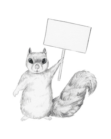 Squirrel holds a poster overhead 写真素材