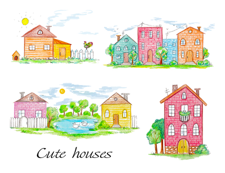 Ensemble de maisons de ville et de village. Illustration peinte à la main au crayon Banque d'images - 93929030