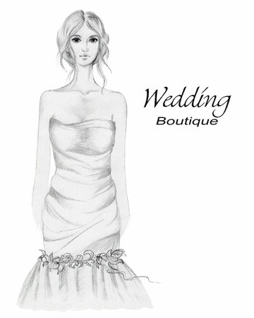 Beauty bride. Graphic hand painted illustration