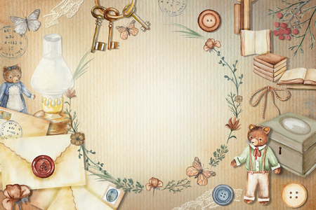 Vintage round frame with cute bears, books, letters, flowers, keys, casket, lamp, butterflies and buttons. Watercolor  hand drawn illustration Stock Photo
