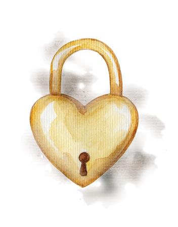 수채화 splotches에 빈티지 황금 자물쇠입니다. 그림을 그리는 수채화 손