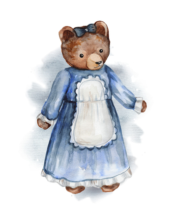 Vintage watercolor bear in dress on watercolor splotches. Hand drawing illustration Stock Photo