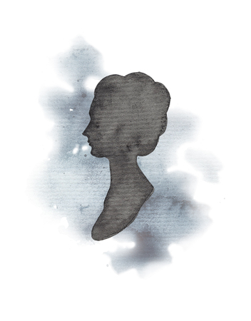Vintage female silhouette on watercolor splotches. Watercolor hand drawing illustration