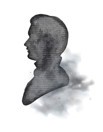 Vintage male silhouette on watercolor splotches. Watercolor hand drawing illustration