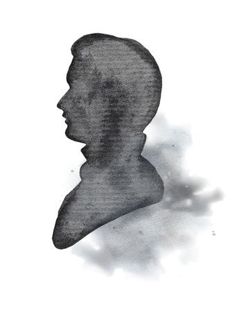Vintage mannelijk silhouet op aquarel vlekken. Aquarel hand tekenen op illustratie