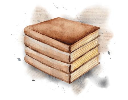 The books on watercolor splotches. Watercolor hand drawn illustration Reklamní fotografie