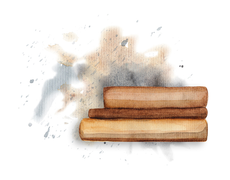 The books on watercolor splotches. Watercolor hand drawn illustration Reklamní fotografie - 94224154