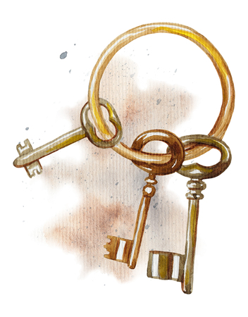 Vintage golden bunch of keys on watercolor splotches. Watercolor hand drawing illustration