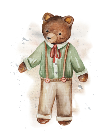 Vintage watercolor bear in pants and shirt on watercolor splotches. Hand drawing illustration Stock Photo