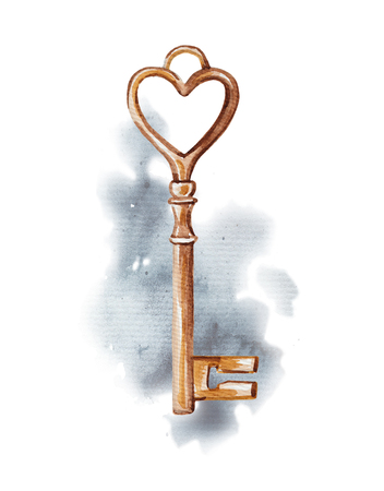Vintage golden key on watercolor splotches. Watercolor hand drawing illustration Imagens