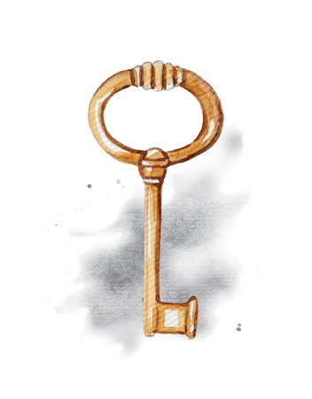 Vintage golden key on watercolor splotches. Watercolor hand drawing illustration Stock fotó