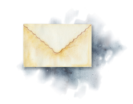 Vintage beige letter on watercolor splotches. Watercolor hand drawing illustration