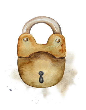 Vintage golden lock on watercolor splotches. Watercolor hand drawing illustration Фото со стока