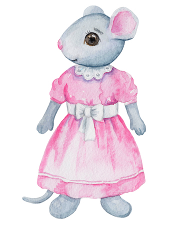 Vintage watercolor little mouse girl  in dress  isolated on white background