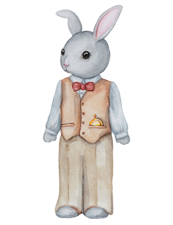 Vintage watercolor papa bunny in pants and shirt isolated on white background