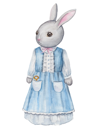 Vintage watercolor mama bunny in dress  isolated on white background Reklamní fotografie