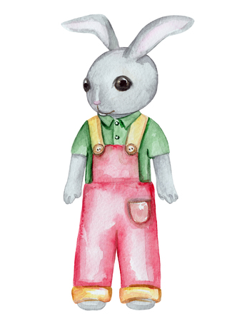 Vintage watercolor little bunny boy in pants and shirt isolated on white background