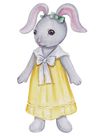 Vintage watercolor little bunny girl  in dress  isolated on white background