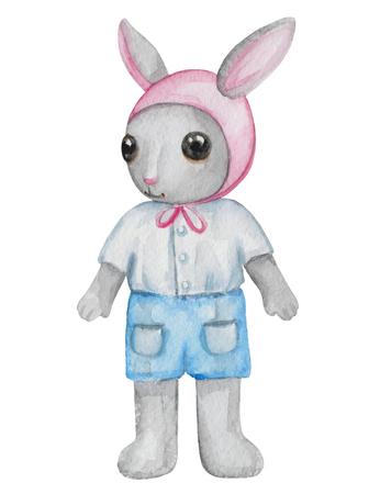Vintage watercolor little bunny boy in shorts and shirt isolated on white background Stock Photo
