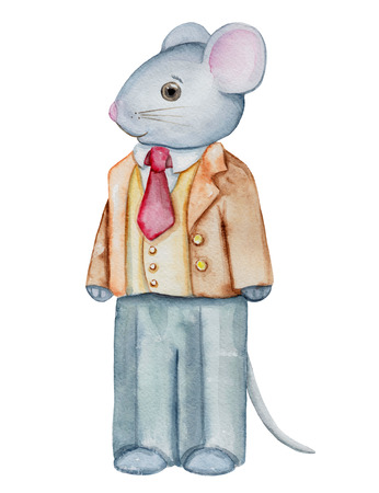 Vintage watercolor papa mouse in pants and shirt isolated on white background