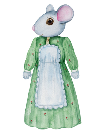Vintage watercolor mama mouse in dress  isolated on white background