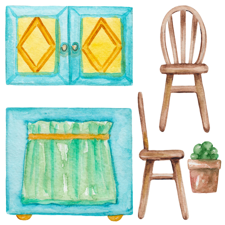 Set of  furniture with kitchen cabinets, chairs and  flower pots. Hand drawn watercolor illustration