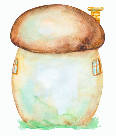 Fairy tale house in a mushroom, watercolor hand drawn illustration Stock Photo