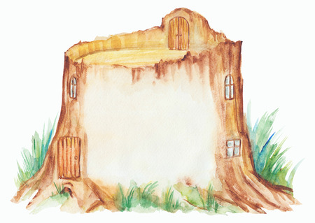 Fairy tale house in a tree stump, watercolor hand drawn illustration