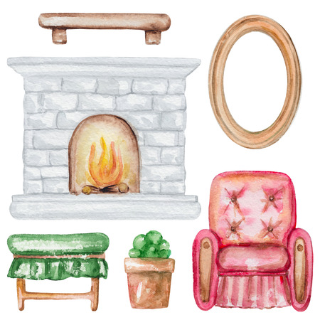 Set of  furniture with frame, shelf, flower pot, fireplace, armchair and  banquet. Hand drawn watercolor illustration