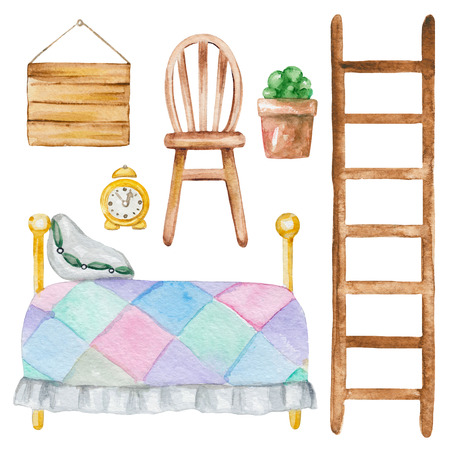 Set of  furniture with bed, chair, board, flower pot, stairs and clock. Hand drawn watercolor illustration