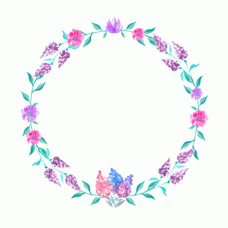Round wreath with purple flowers and twigs. Watercolor hand drawn illustration