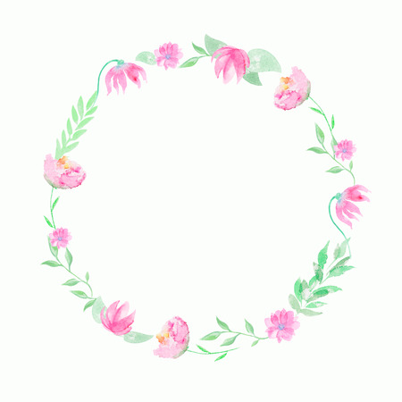 Round wreath with pink flowers and twigs. Watercolor hand drawn illustration Stok Fotoğraf