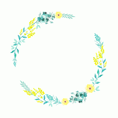 Round wreath with yellow flowers and twigs. Watercolor hand drawn illustration Stock Photo