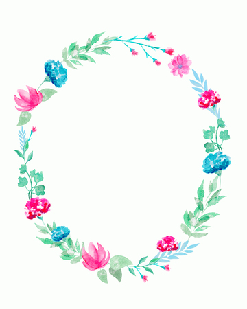 Oval frame with flowers and twigs. Watercolor hand drawn illustration