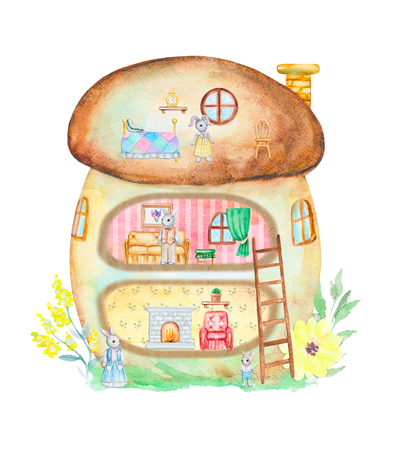 Fairy tale mushroom house with furniture and family of rabbits. Watercolor hand drawn illustration Imagens